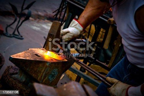 istock Blacksmith at work 173563108