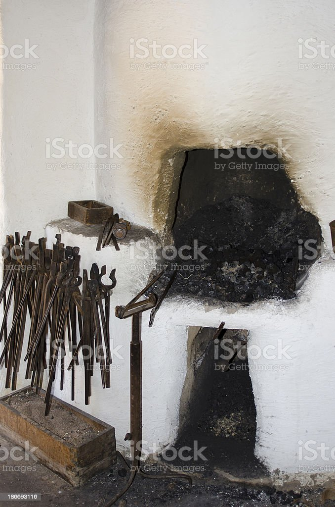 Blacksmith Fireplace at Bent's Old Fort stock photo