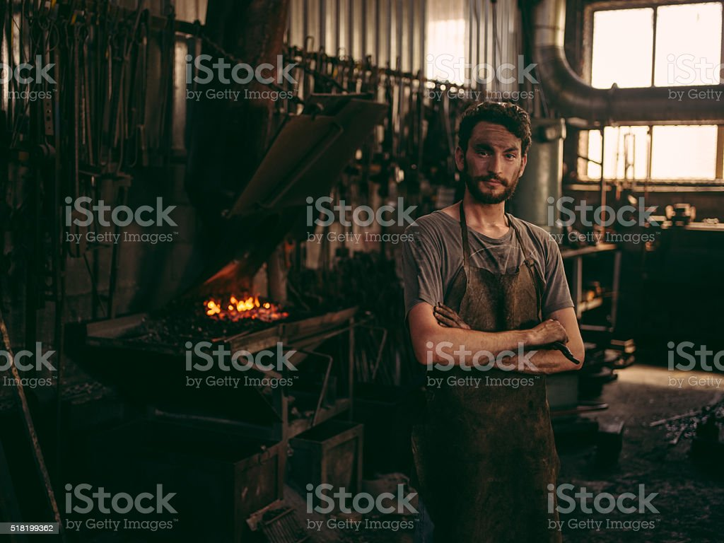Blacksmith portrait stock photo