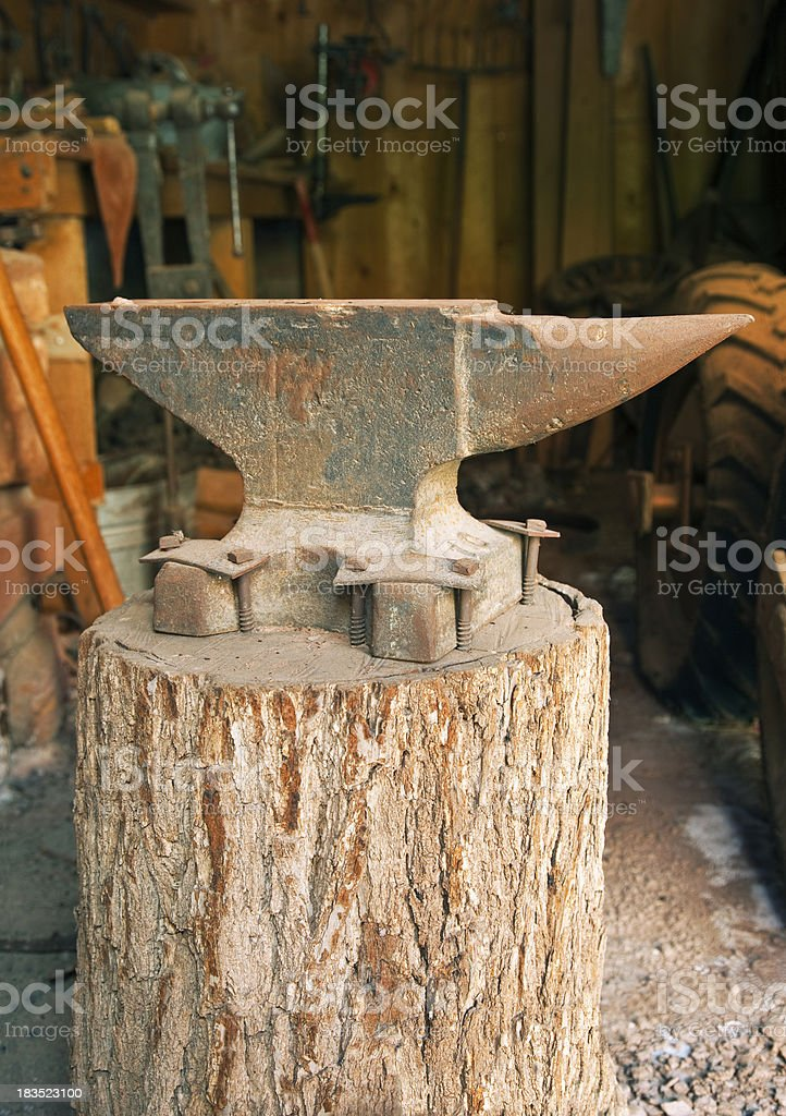 Blacksmith Shop and Anvil at Capitol Reef National Park stock photo