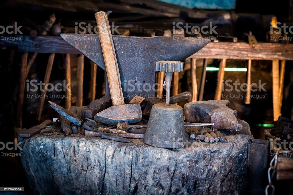 Blacksmith tools stock photo