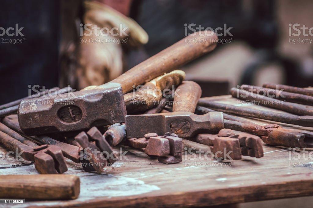 A blacksmith tools stock photo