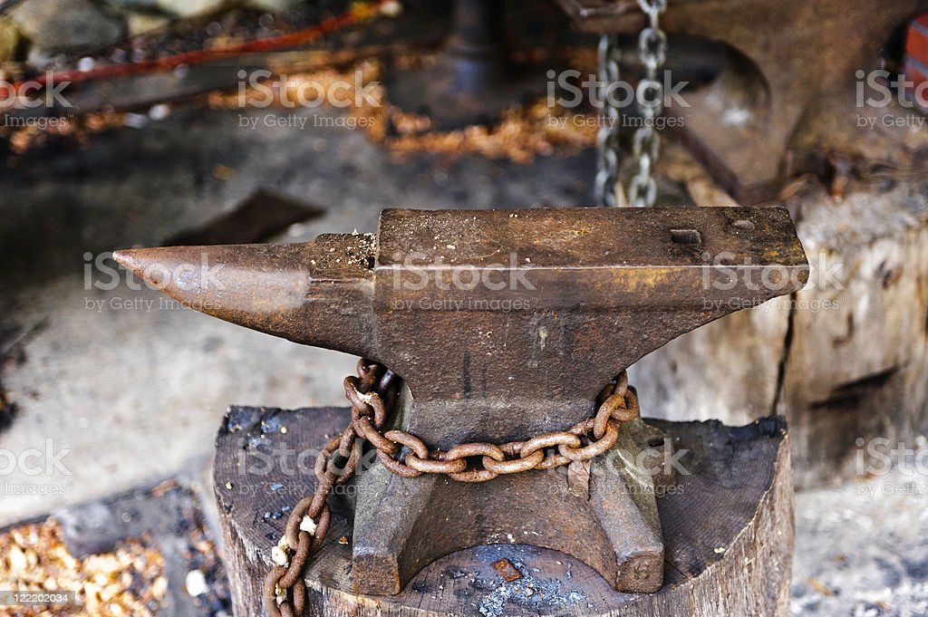 Blacksmith's Anvil - Colvin Mill Virginia stock photo