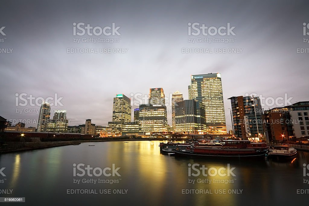 Blackwall Basin and Canary Wharf, London. stock photo