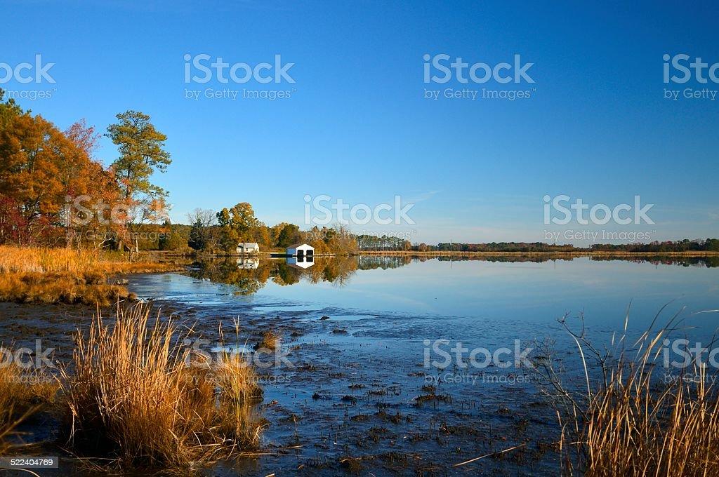 Blackwater Boathouse In Fall stock photo