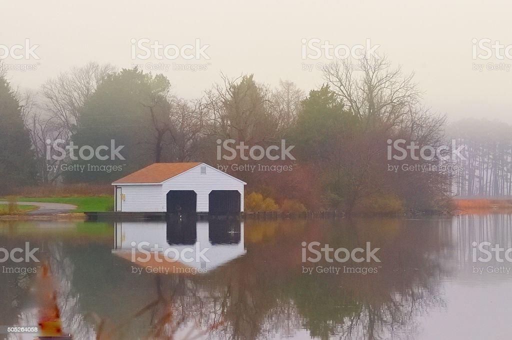 Blackwater NWR Boathouse In Winter stock photo