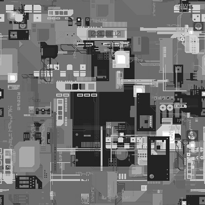 Three dimensional digitally generated conceptual image of a black and white circuit board. Motherboard digital chip, computer processor and other parts in electronic computer hardware technology. 3D background, abstract picture, top view