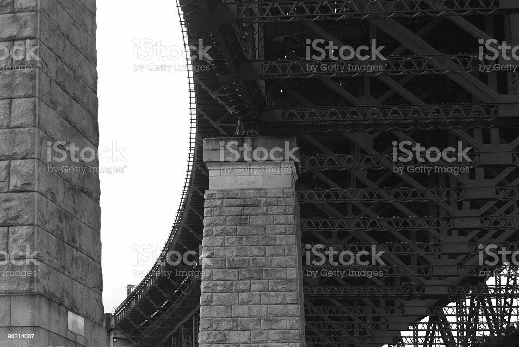 Black/white bridge supporting pillars and girders royalty-free stock photo