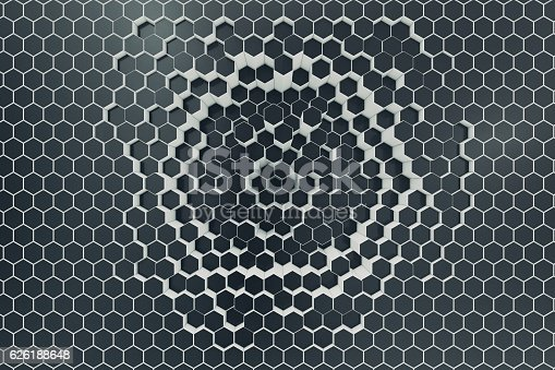istock Black-white geometric hexagonal abstract background. 3d rendering 626188648