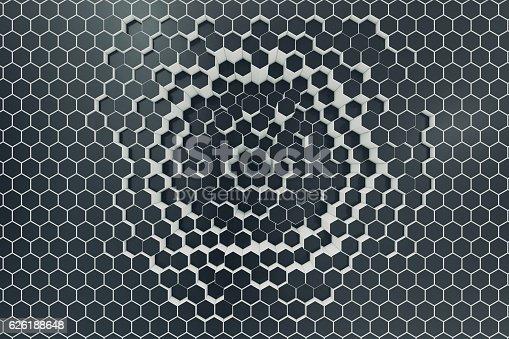1003112152 istock photo Black-white geometric hexagonal abstract background. 3d rendering 626188648