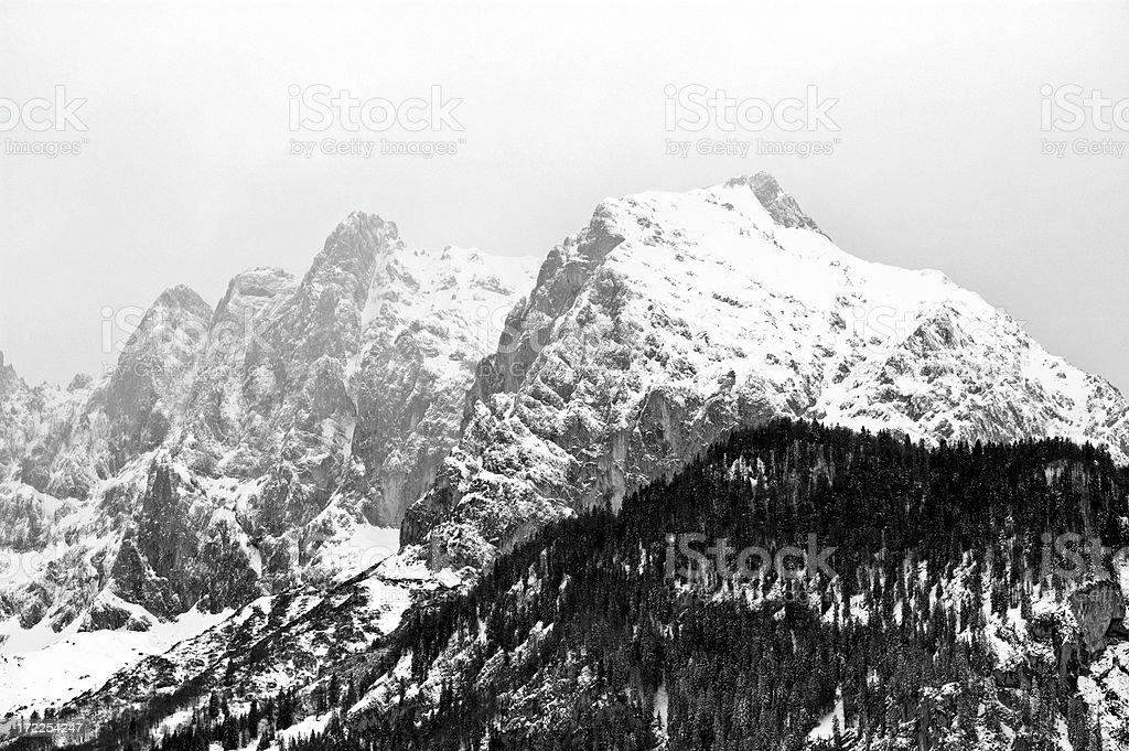 Black-White View of Austrian Alps royalty-free stock photo