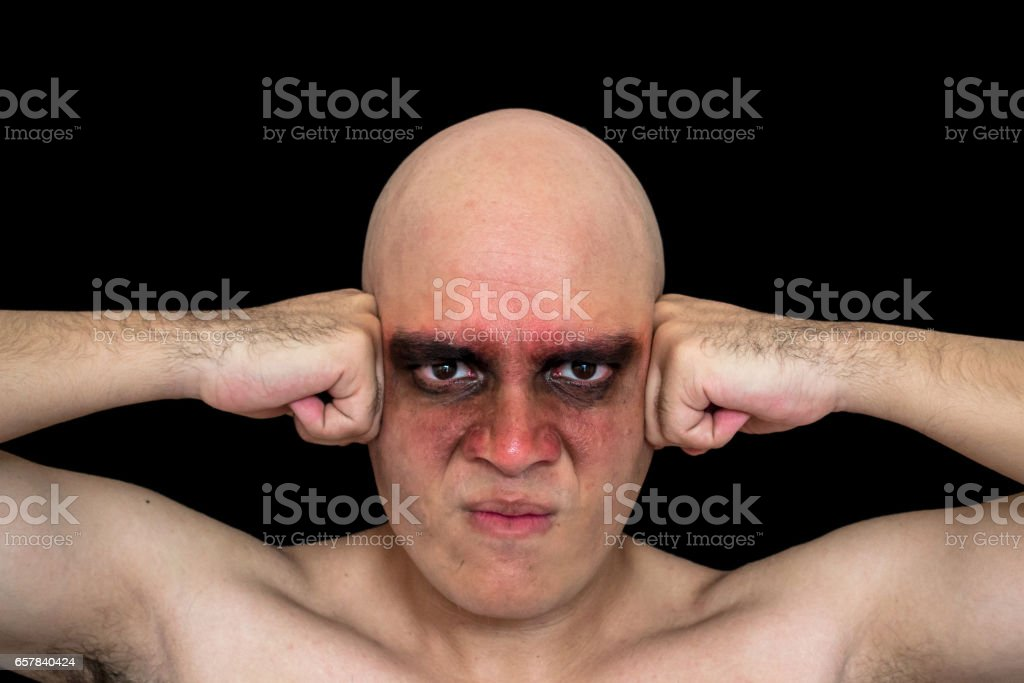 Blad man with makeup stock photo