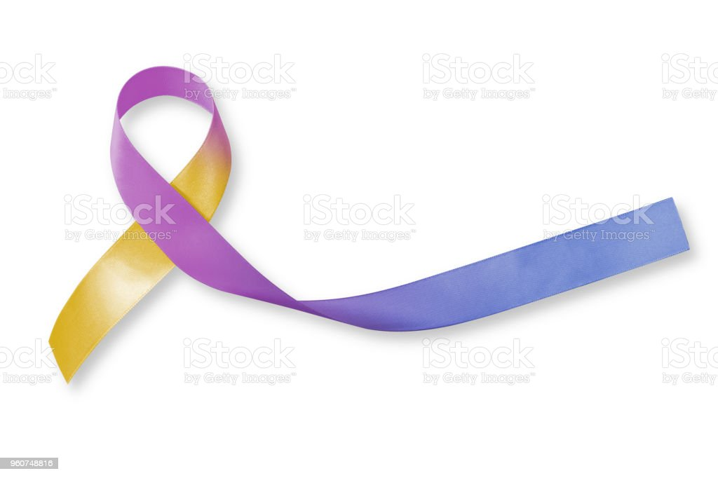 bladder cancer awareness marigold blue purple ribbon