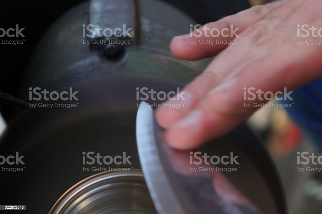 Blade Sharpening stock photo