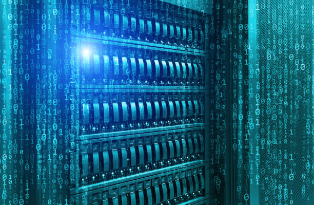 blade storage supercomputer of data center binary code - flash stock photos and pictures