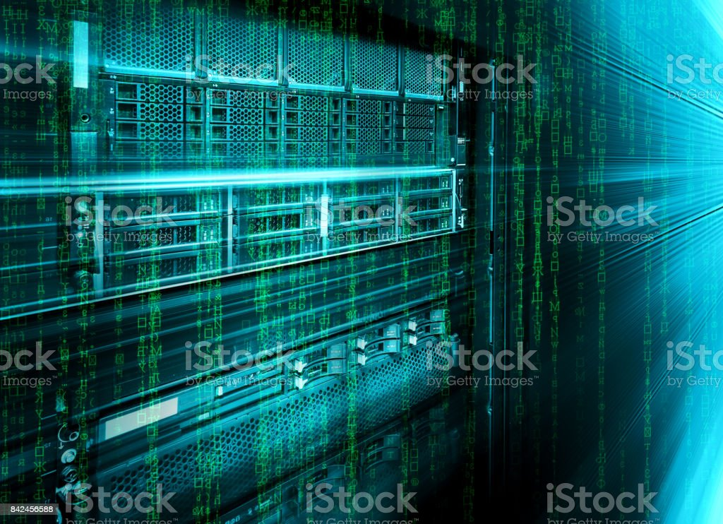 blade storage supercomputer of data center with binary code matrix stock photo