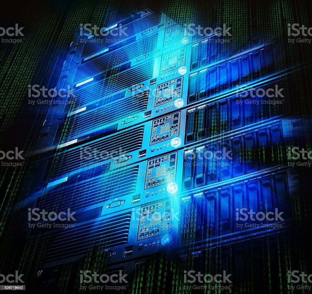 blade storage supercomputer of data center with splash stock photo