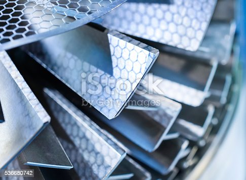 istock Blades molecular vacuum pump. Abstract industrial background. 536680742