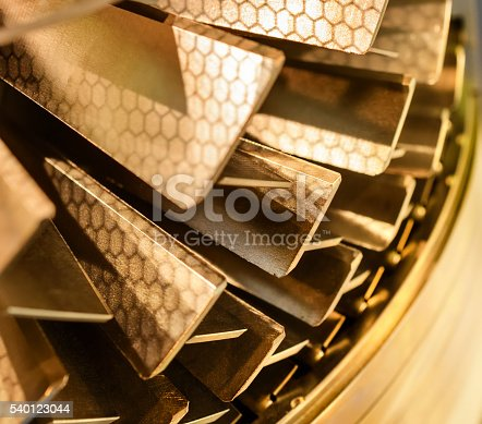 536680742 istock photo Blades molecular vacuum pump. Abstract industrial background. 540123044