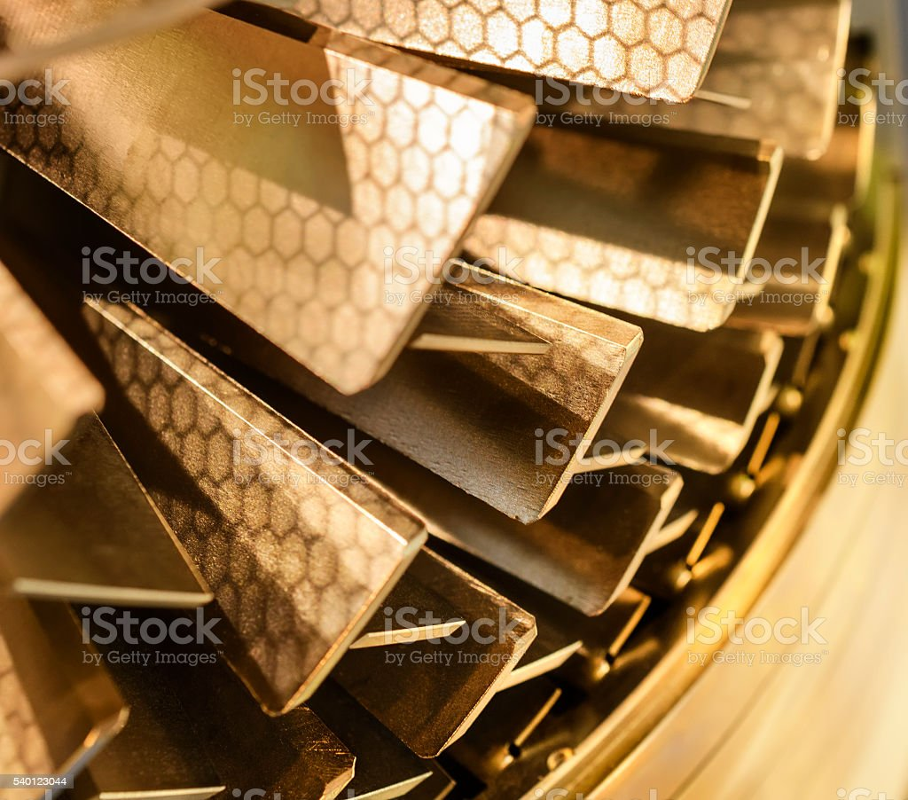 Blades molecular vacuum pump. Abstract industrial background. stock photo