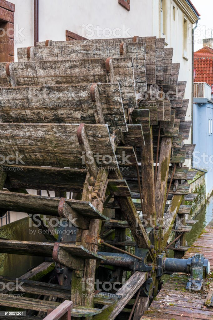 Blades of the old wooden mill stock photo