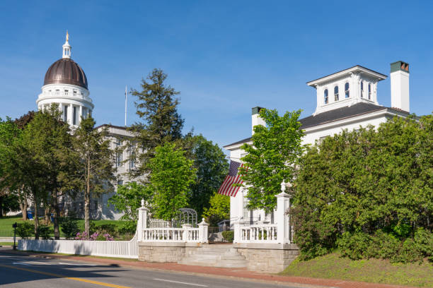 Blaine House and Capitol Building in Augusta, Maine stock photo