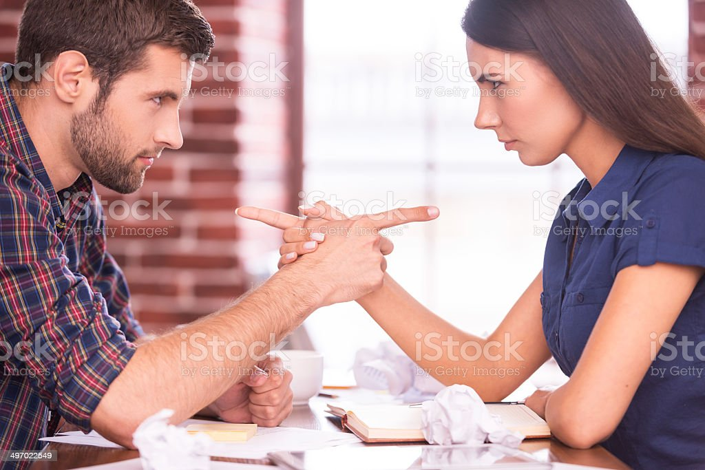 Blaming each other. stock photo