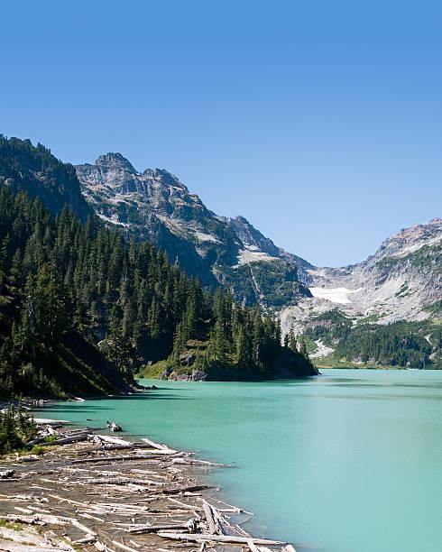 Blanca Lake and Columbia Glacier stock photo