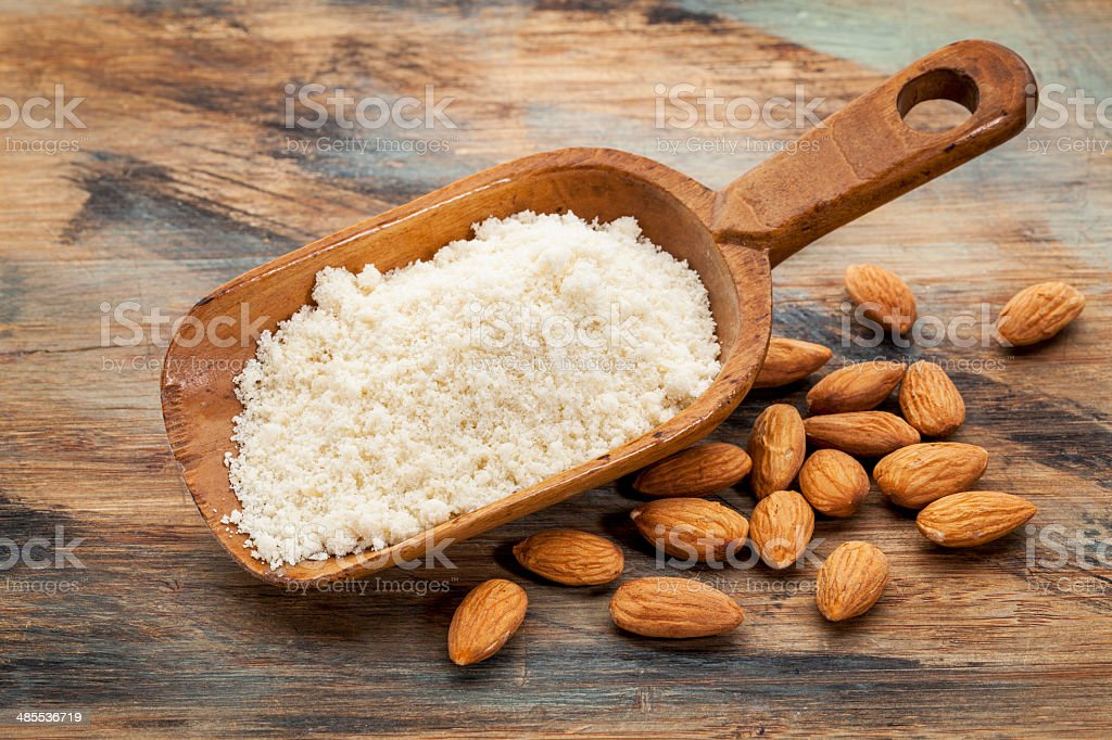blanched almond flour stock photo