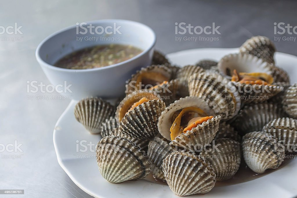 Blanched cockles. stock photo