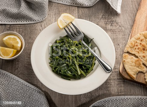 Blanched fresh greens with lemon - SALAD (Click for more)