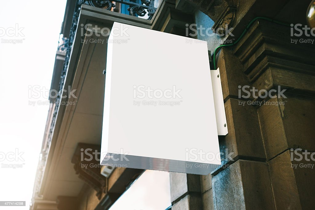 Blanck lightbox on the wall stock photo