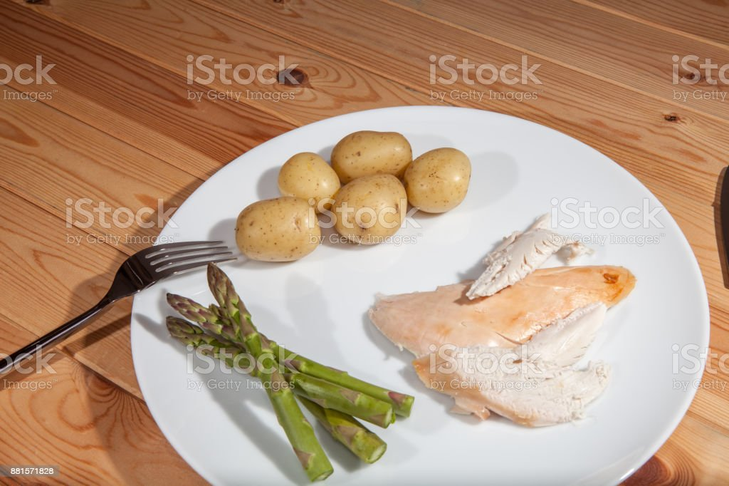 Bland healthly food meal. Boring chicken slimmers dinner with asparagus stock photo