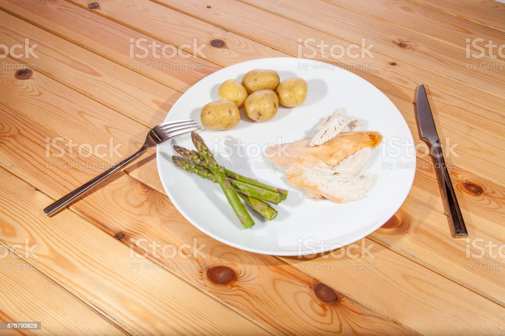 Bland healthy organic chicken dinner. Boring low calorie diet food. stock photo