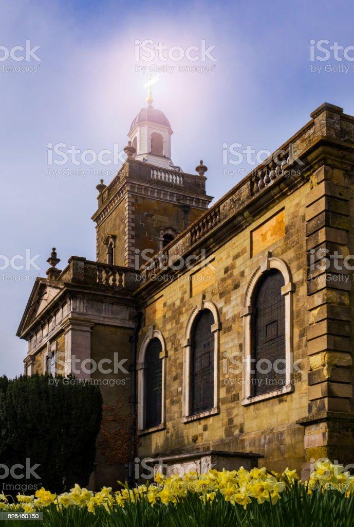 Blandford Forum Church in springtime stock photo