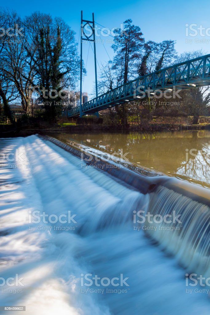 Blandford Forum weir long exposure stock photo