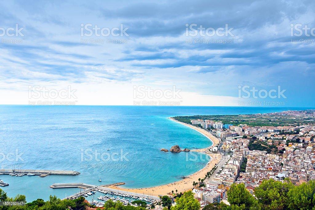 Blanes beach and Sa Palomera rock, Catalonia, Spain stock photo