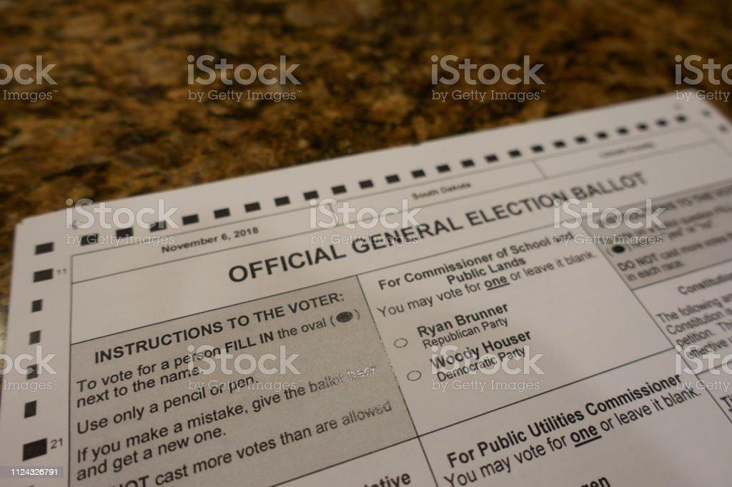 Blank 2018 midterm ballot stock photo