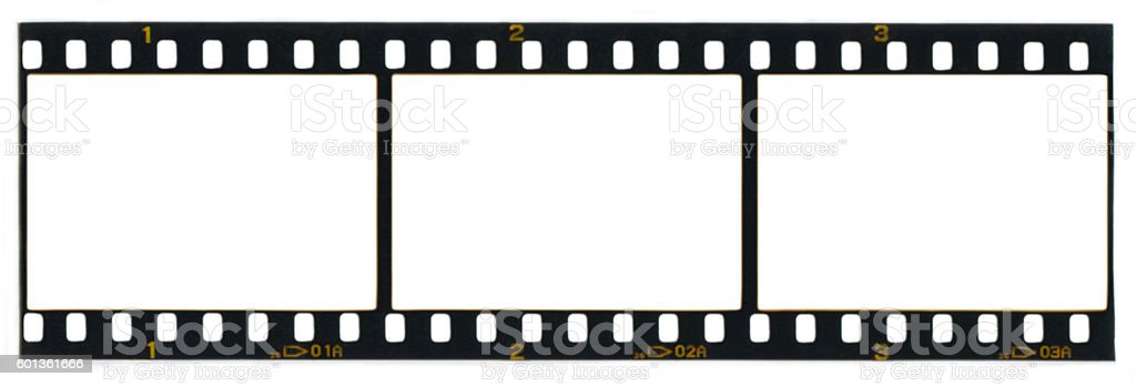 Blank 35mm film frames (with clipping path) stock photo