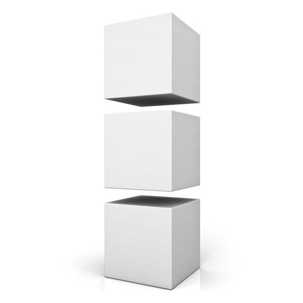 Blank 3d boxes or cubes standing isolated on white background with reflection . 3D render stock photo