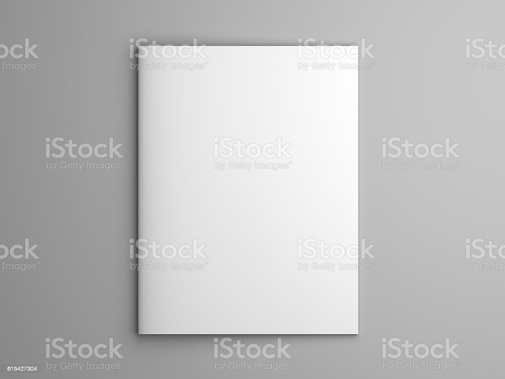 Blank 3D illustration brochure or magazine isolated on gray. stock photo