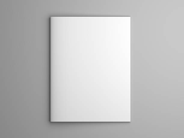 Blank 3D illustration brochure or magazine isolated on gray. Blank US letter, brochure or magazine isolated on gray with shadows. 3d illustration mockup. catalog stock pictures, royalty-free photos & images