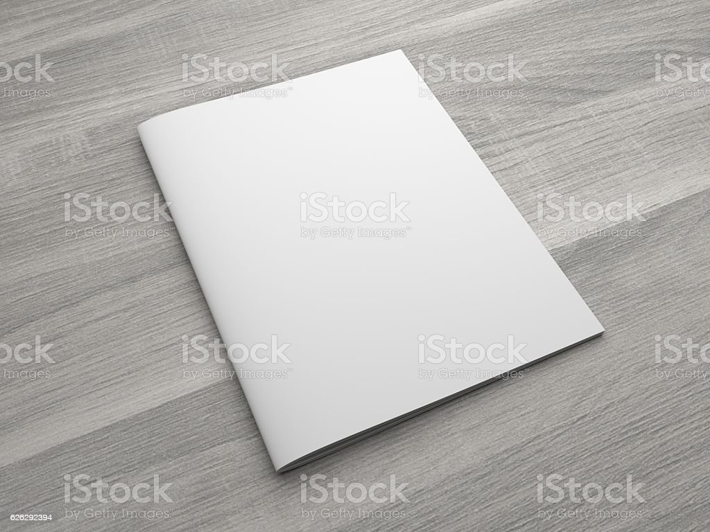 Blank 3D illustration brochure or magazine on wooden background. stock photo