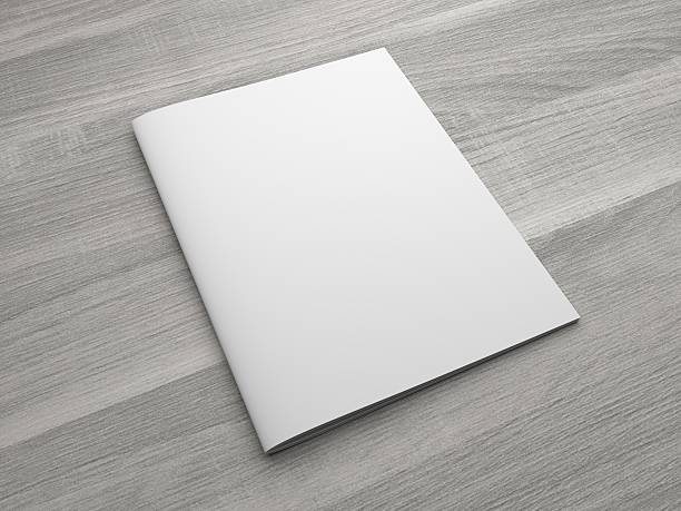 Blank 3D illustration brochure or magazine on wooden background. Blank US letter, brochure or magazine isolated on gray on wooden textured background. 3D illustration mockup. catalog stock pictures, royalty-free photos & images
