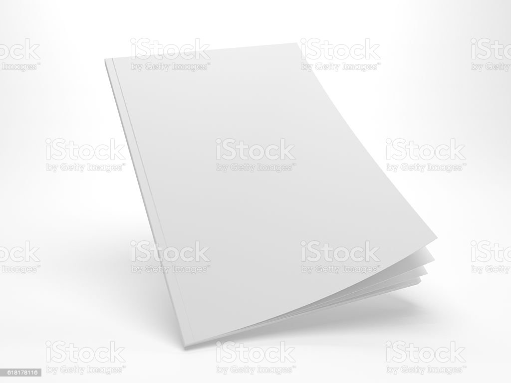 Blank 3D illustration flying opening cover magazine mockup. stock photo