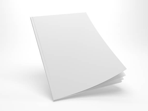 Blank 3D illustration flying opening cover magazine mockup. - foto stock