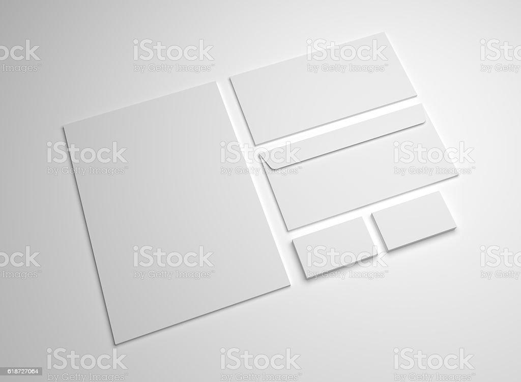 Blank 3d Illustration Mockup Letter Business Cards And Envelopes ...