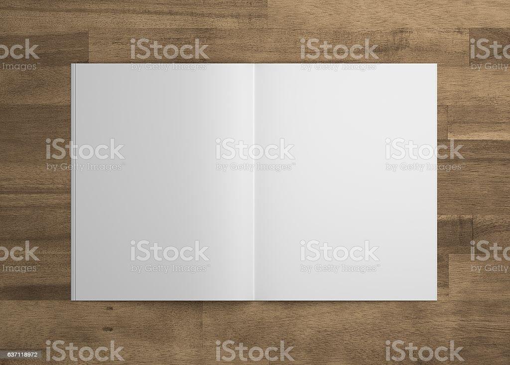 Blank 3D illustration opened magazine mock-up on wood. stock photo