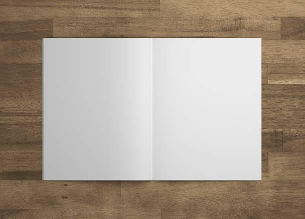 blank 3d illustration opened magazine mock-up on wood. - zeitschrift aufgeschlagen stock-fotos und bilder