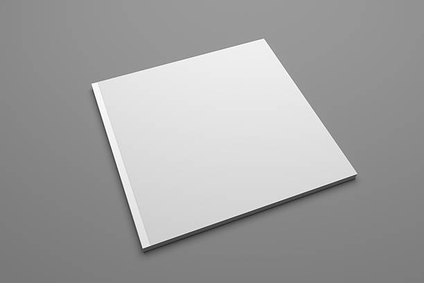 Blank 3D illustration square brochure cover mockup stock photo
